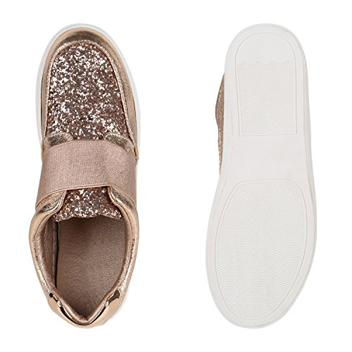 Damen Sneakers Slipper Slip-ons Metallic Kroko Gold Silber New Look Rose Gold Bernice