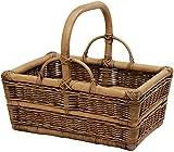 Stabiler Tragekorb aus Rattan / Einkaufskorb mit Bügel / Korb zur Aufbewahrung (Vintage Braun)