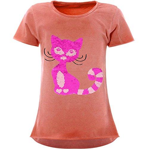 BEZLIT Mädchen Wendepailletten T-Shirt Katzen-Motiv Kurzarm 22492, Farbe:Orange, Größe:152