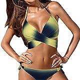 Conjunto de bikini sexy mujer Traje de baño acolchado push-up de vendaje ropa de playa Tops y Braguitas tangas Biquinis Bañador natación brasileños deportivo Amlaiworld (Amarillo, M)