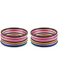DollsofIndia 2 Sets Of Multicolor Metal Bangles - Size - 2-7 - Dia - 2.43 Inches (RF16) - Multicolor