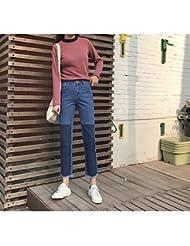 UO&Clothes signer frange de petites couleurs mélangées était mince jeans taille de femmes pantalon droites