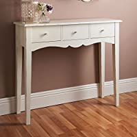Taylor & Brown® Shabby Chic 3 Drawer White Wooden Console Table Hall Side End Dressing Table Desk