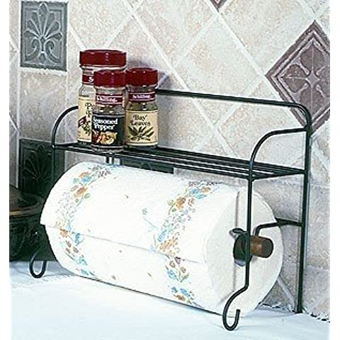 Wire Black Paper Towel Holder Rack with Shelf 10