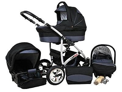 Kinderwagen Largo, 3 in 1- Set Wanne Buggy Babyschale Autositz Schwarz + Graphite