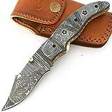8906handgefertigtes Acero de Damasco-Cuchillo universal-Cuchillo con vaina de piel Gran Calidad