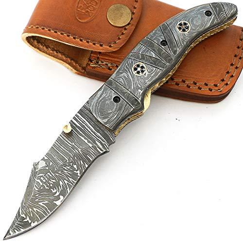 Sagm-9038 coltello pieghevole lama personalizzata in acciaio damasco con fodero 19cm maniglia in acciaio damasco billetta campeggio capocuoco cucina escursionismo pesca interno casa giardino