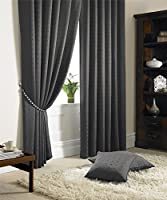"Jacquard Check Lined Charcoal Grey 66"" X 54"" - 168cm X 137cm Pencil Pleat Curtains from Curtains"