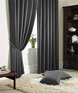 "Jacquard Check Lined Charcoal Grey 90"" X 108"" - 229cm X 274cm Pencil Pleat Curtains by Curtains"