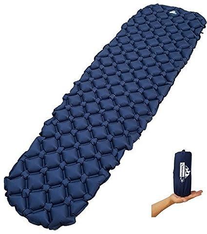 Rembourrage pour sac de couchage OutdoorsmanLab Ultralight–Ultra Compact pour randonnée, camping, Voyage, avec conception très confortable de cellule gonflable, bleu