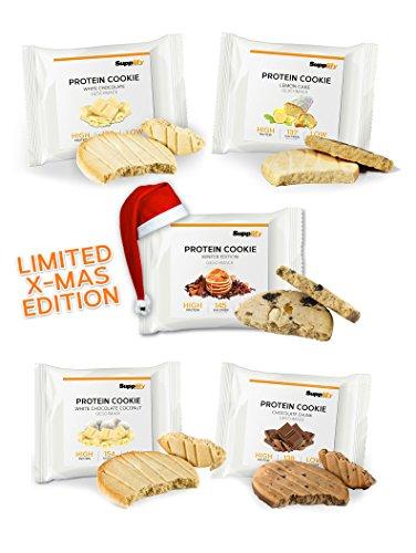 Supplify Protein Soft Cookie- Fitness Snack aus Whey Eiweiß Pulver- Mix-Box 6 Kekse á 40g - Testpaket aus Chocolate Chunk, White Chocolate, Lemon Cake, Weiße Schokolade Kokos & Lebkuchen