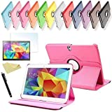 SVS 3in1 SET Tab S 10.5 360° Schutzhülle + Folie + Pen Samsung Galaxy Tab S SM-T800 / T801 / T805 Tasche Etui (Pink)