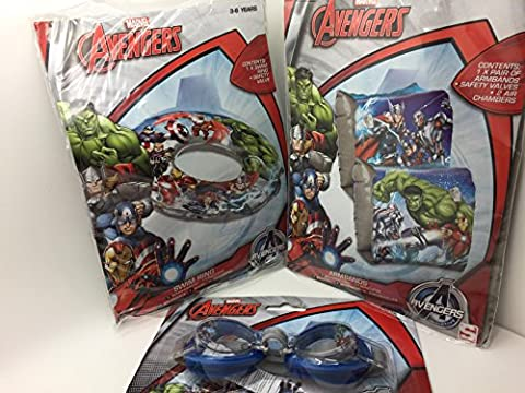 3 Pc Marvel Avengers Kid / boy Swim set - Armbands , Swimring & Swim Goggle - Swan household ®