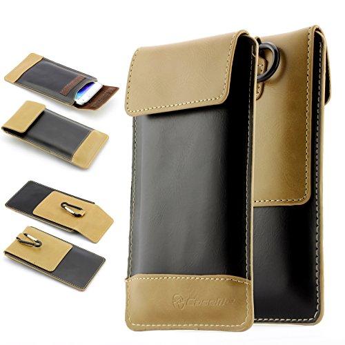 Universal Handy Schutz Tasche Case Me Schutz Hülle mit Karabinerhacken Gr. XL (15 x 8,5 cm ) 4,7 Zoll mit Klettverschluss ScorpioCover schwarz / braun schwarz / hell braun