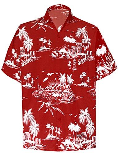 La-Leela-Palma-Ocasional-Floral-buttotn-Abajo-de-Manga-Corta-Camisa-Hawaiana-de-Los-Hombres-Negros-5XL
