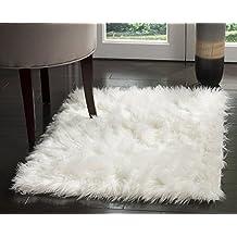 Seda sintética piel de cordero alfombra blanco marfil zona Shag alfombra (2'x 3')