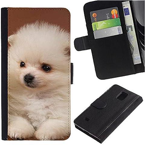 OMEGA Case / Samsung Galaxy Note 4 SM-N910 / white puppy japanese spitz volpino italiano / Cuero PU Delgado caso Billetera cubierta Shell Armor Funda Case Cover Wallet Credit Card