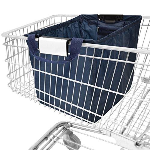 achilles Easy-Shopper, Faltbare Einkaufswagentasche, Einkaufstasche passend für alle gängigen Einkaufswagen, Tasche in Navy, 54x35x39 cm -