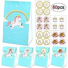 Bolsas de regalo de unicornio, 20 bolsas de papel de arco iris azul unicornio+