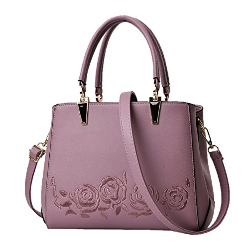 Borse A Ricamo Delle Donne Borse A Tracolla In Cuoio PU Borsa Per Sacco A Pelo Satchel Multicolor Purple2