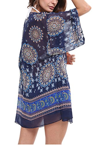 CHIC DIARY Women Bathing Suit Beach Cover up Floral Kimono Cardigan