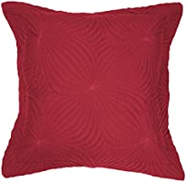 Douceur d'Intérieur Housse de Coussin Zippé + Encart Microfibre Uni Florencia Rouge 60 x 60 x 60 cm
