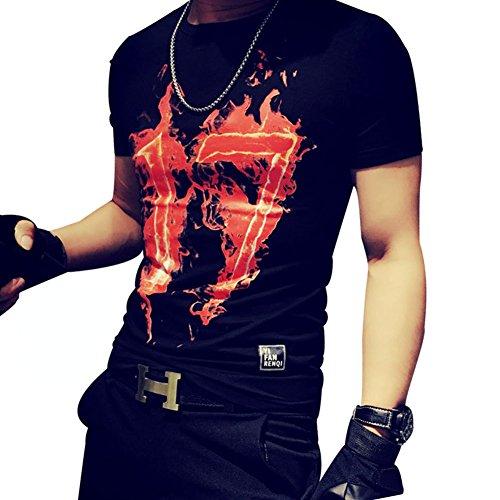 BOMOVO Herren THRASHER Cotton T-Shirt In Vielen Farben Schwarz