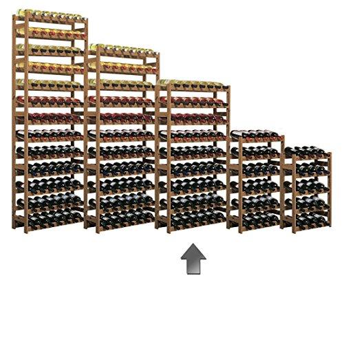 Weinregal / Flaschenregal System 'Simplex' Modell 3, für 56 Fl., Holz, Kiefer braun gebeizt