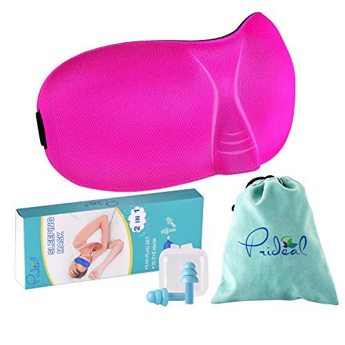 3D-Schlafmaske mit Ohrstöpseln, verstellbare Augenmasken zum Schlafen, leichte und komfortable Ohrstöpsel zur Geräuschreduzierung, beste Augenmaske, inklusive Reisetasche