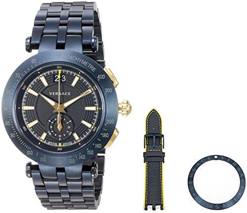 Versace Herren Analog Quarz Uhr mit Edelstahl Armband VAH050016