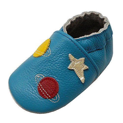 Yalion Baby Weiche Leder Lauflernschuhe Krabbelschuhe Hausschuhe Lederpuschen Sterne Planeten (24/25, Himmelblau)