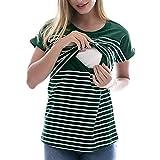 bobo4818 Frau Mutterschaft Stillendes Gestreiftes Still-T-Shirt (XL, Green)