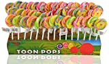 Toonpops Cartoon Lollipops Assorted Fruit Flavour Candy Swirl - Pack 60 Pcs, 1.5 Inch Round With Display Box, 600 G