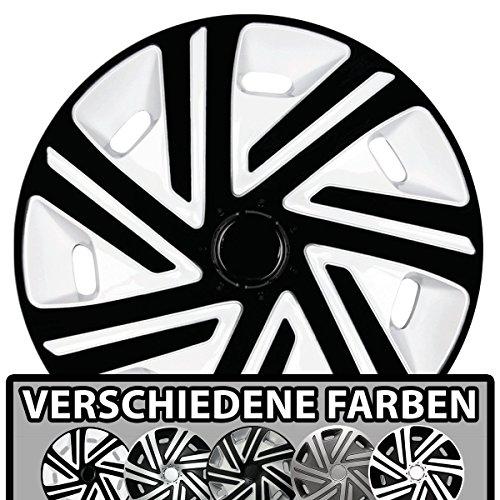 (Größe und Farbe wählbar) Radzierblenden 15 Zoll - CYRKON (Weiß-Schwarz) passend für fast alle Fahrzeugtypen (universell)!