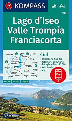 Lago d'Iseo, Valle Trompia, Franciacorta 1 : 50 000: 4in1 Wanderkarte 1:50000 mit Aktiv Guide und Detailkarten inklusive Karte zur offline Verwendung in der KOMPASS-App. Fahrradfahren.
