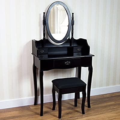 Home Discount Nishano Dressing Table With Stool 3 Drawer Oval Adjustable Mirror Bedroom Set Makeup Cosmetics Dresser Furniture, Black - low-cost UK light shop.