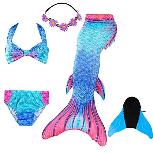 COZY HUT 2019 Meerjungfrau Schwanz mit Meerjungfrau Badeanzug Schwanzflosse Zum Schwimmen Kostüm Für Kinder Mädchen Bikini Set und Monoflosse mit Blumen Haarband, 5 Stück ()