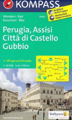 Pérouse, Assise, Citta di Castello, Gubbio (Ombrie, Italie) 1:50.000 carte topographique de randonnée KOMPASS # 2464