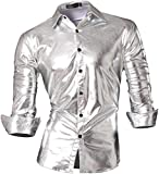 Jeansian Herren Freizeit Hemden Bronzing Slim Button Down Long Sleeves Dress Shirts Tops Z036 Silver S [Apparel]