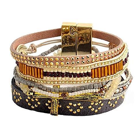 BeyDoDo Modeschmuck Armband für Damen Handgemachte Geflochtene Multilayer Armreif mit Bead Kruez Boho Suferarmband (Krone Für Weihnachten Szenen)