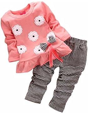 Amlaiworld Bambini Vestito,Ragazze Lunga manica fiore Bow camicia + Plaid Pant (rosa, 110)