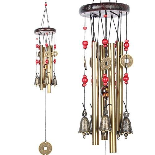 Garten Windspiel, Midore Chinesischer Stil 4 Röhren 5 Glocken Bronze Windspiel für Balkon und Garn Dekoration (Oben Vorbau)