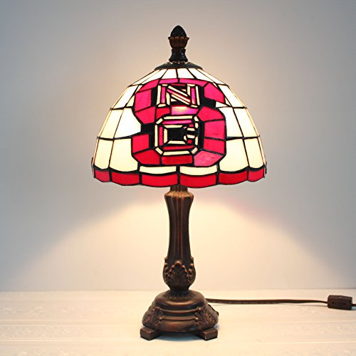 9-Zoll NCAA North Carolina State Wolfpack Glasmalerei Tischlampe