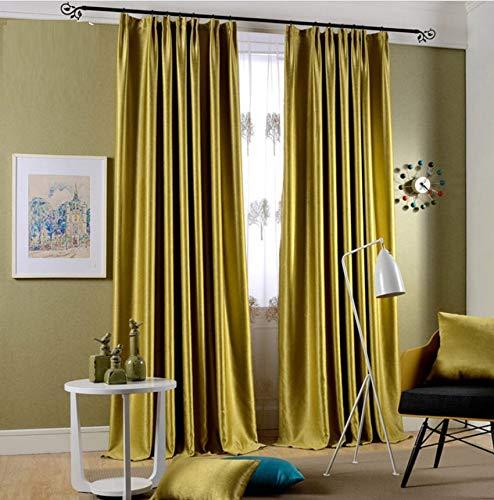 HCZHQAA Solide glänzende samt Blackout Vorhänge für Schlafzimmer Faux Seide gelb blau Drapes Cortinas Dekoration Fenster Behandlungen Küche Schlafzimmer Vorhänge 2 X 66 W x 72
