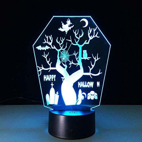 Nachtlicht Allerheiligen Baum 3D Remote Led Nachtsicht Stereo Lampe 7 Farbwechsel Usb Led Als Halloween Dekorationen (Allerheiligen Halloween-verbindung Und)