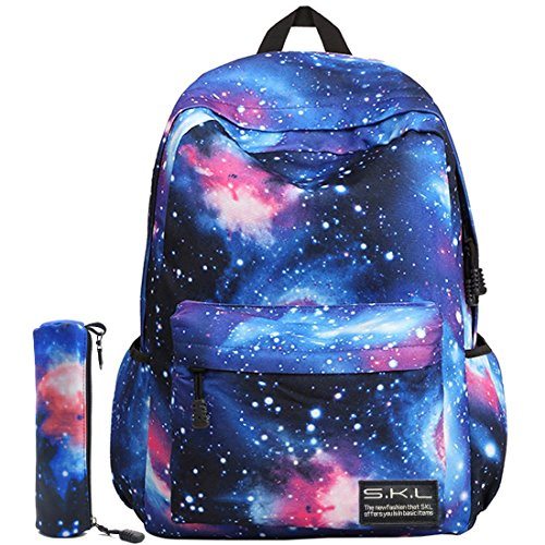 Galaxy School Backpack, Galaxy Bag Unisex School Bag Collection Canvas Backpack (Blue with Pencil Bag)