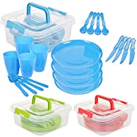 GEEZY 21 Piece Plastic Picnic Camping Party Dinner Plate Mug Cutlery Set Storage Box