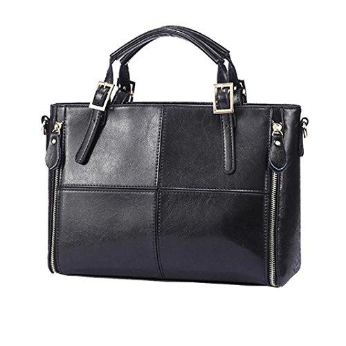 Damen Fashion Casual Leder Handtasche Large Kapazität Klassischer Damen Tote Handtaschen Cross-Body-Umhängetaschen Messenger Bag, Staubbeutel, Solid schwarz 32cm(L)*12cm(W)*23cm(H) (Wallets Handtaschen Stoff Geldbörsen Tragetaschen)