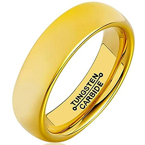 6MM Gold Plated High Polish Comfort Fit Domed Tungsten Carbide Ring Size S 1/2 Epinki