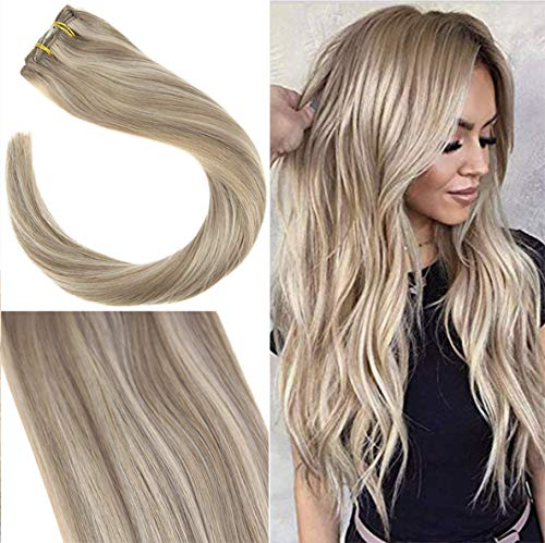YoungSee 7pcs/120g Clip in Extensions Echthaar Blond Gestrahnt 100% Remy Human Hair Double Tressen Clip in Extensions Blond Voller Kopf 35 cm